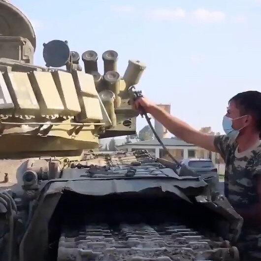 Ganimetler kullanılmaya başlandı: Ermenistanın bırakıp kaçtığı tanklar boyanarak kullanıma hazır hale getirildi