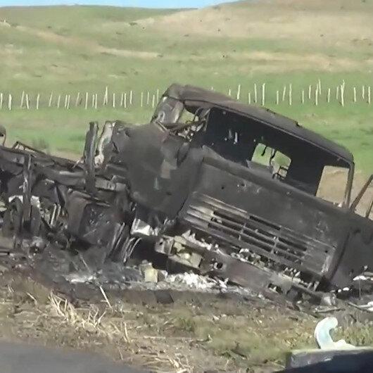 Ermenistan işgalinden kurtarılan Horadiz köyünde Azerbaycan tarafından imha edilen tank ve askeri araçlar böyle görüntülendi