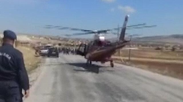 Ambulans helikopter kazada ağır yaralanan kişi için karayoluna indi