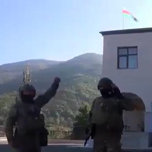 Azerbaycan ordusundan söylentilere son verecek paylaşım: Ecdatlarımızın bize yadigarı bu bayrak, artık Hadrutun merkezinde asılı!