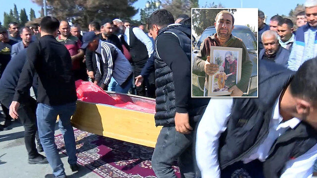 Gence'deki saldırıda katledilen anne ve bebeği aynı tabutta defnedildi
