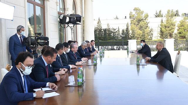 TBMM Başkanı Şentop resmi temas için gittiği Azerbaycan'da, İlham Aliyev ile bir araya geldi