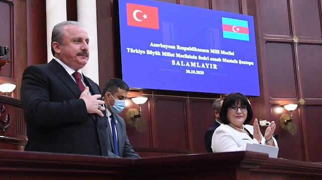 TBMM Başkanı Azerbaycan'da: Ermenistan sivilleri öldürmeyi devlet politikası yaptı