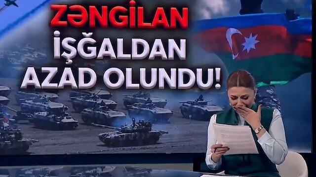 Azerbaycanlı spiker memleketi Zengilan'ın kurtuluş haberini verirken gözyaşlarına boğuldu
