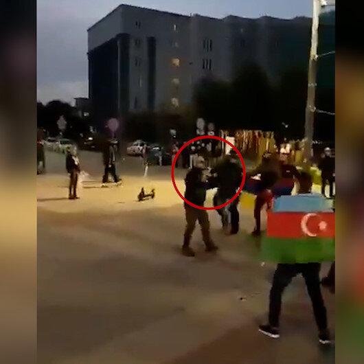 Polonyada Ermeniler, gösteri yapan Azerbaycanlılara silah çekti!