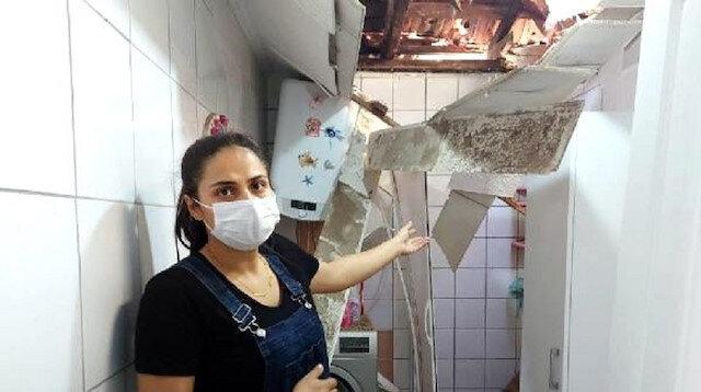 İzmir'de faciadan dönüldü: Yamaçtan kopan kaya parçaları çatıyı delip eve girdi, ölümden 5 saniyeyle kurtuldu