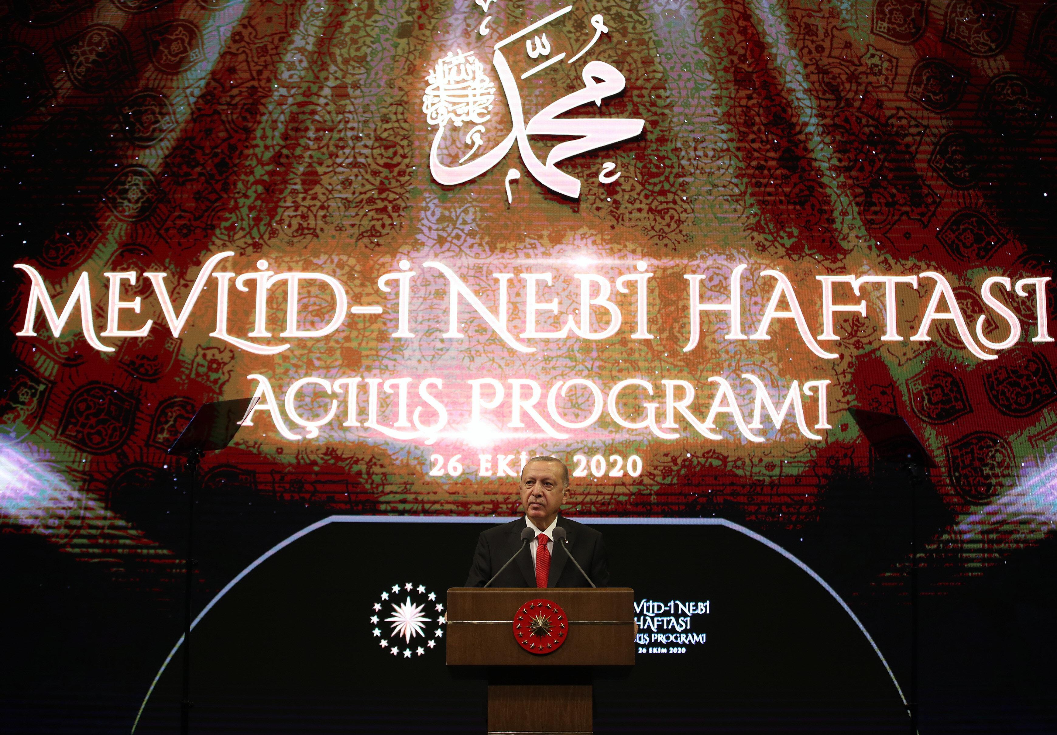 Türkiye Cumhurbaşkanı Recep Tayyip Erdoğan, Beştepe Millet Kongre ve Kültür Merkezi'nde Mevlid-i Nebi Haftası Açılış Programında konuştu.