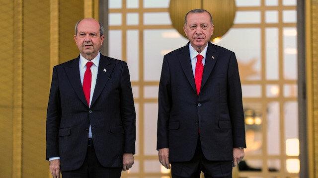 KKTC Cumhurbaşkanı Ersin Tatar Cumhurbaşkanlığı Külliyesi'nde