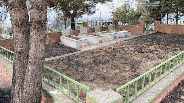 İskenderun'da Azganlık Şehitliği, yangından etkilenmedi