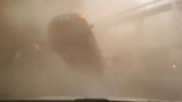 Hortuma kapılan otomobilin sürücüsünün beli kırıldı