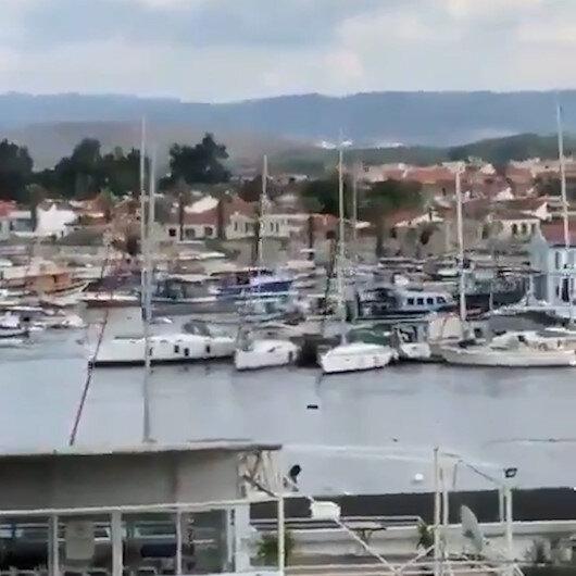 İzmirde deprem sonrası tekneler böyle sürüklendi