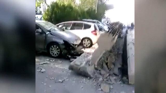 Alsancak'ta depremin şiddetiyle viyadüğün kolonları araçların üzerine düştü