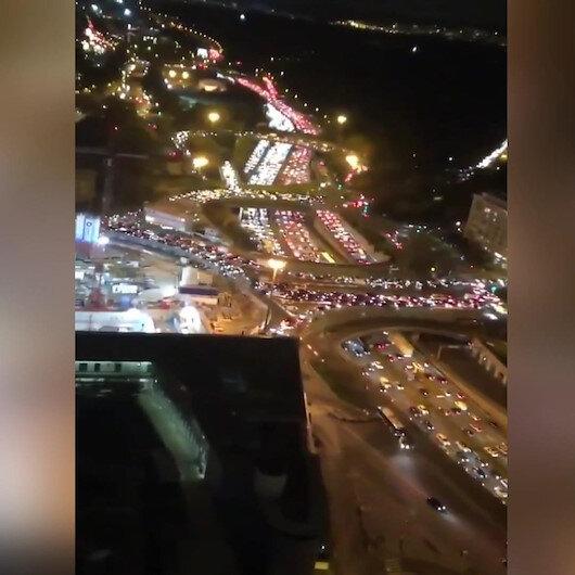 Fransada trafikteki OHAL yoğunluğu dronela görüntülendi