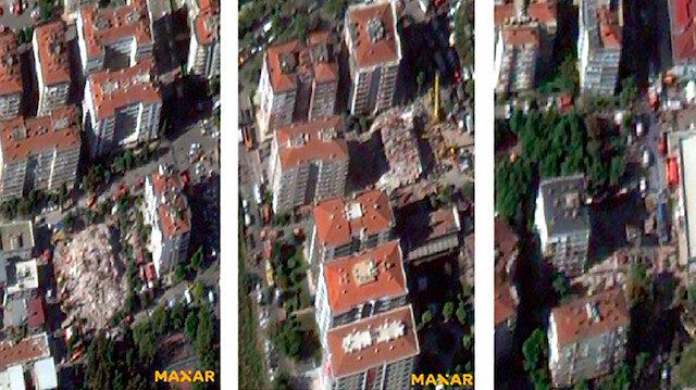 İzmir depreminin yol açtığı yıkım uzaydan görüntülendi