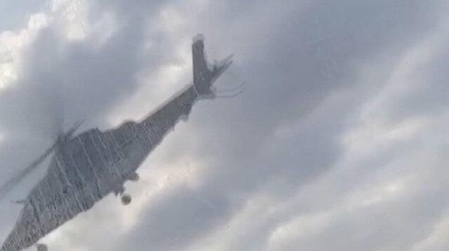 ABD'de donör kalp taşıyan ambulans helikopterin yere çakılma anı kamerada