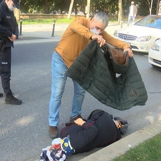 Beyoğlunda yürek ısıtan görüntü: Kazada yaralanan kadın üşümesin diye montunu üzerine örttü