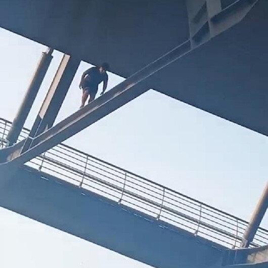 Beğeni uğruna tehlikeye aldırmadan Haliç Köprüsü kirişlerinde yürüdü
