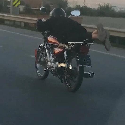 5 bin liralık motosikletini üzerine yatarak kullanan sürücüye 10 bin lira ceza