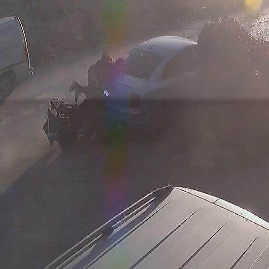Park halindeki araca çarpıp havalanan sürücü çarpmanın etkisiyle geri sekip ATVnin üzerine oturdu