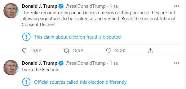 Trump'ın sosyal medya paylaşımı.