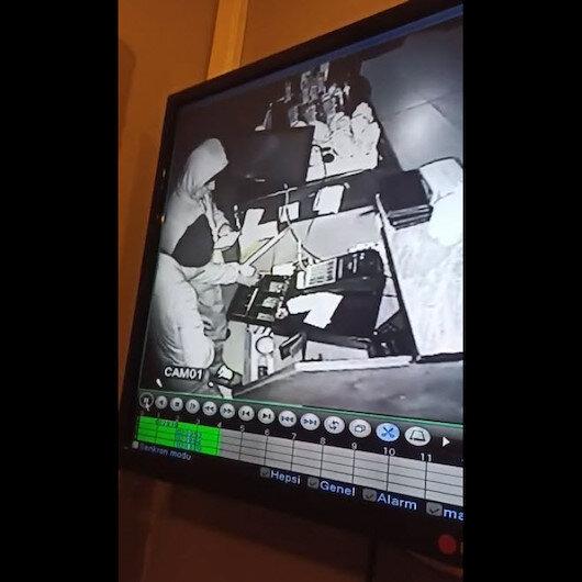 İzmirde iş yerinden hırsızlık anları anbean güvenlik kamerasında