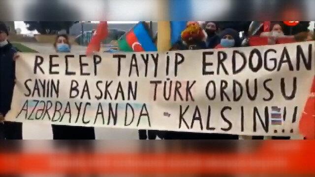 Azerbaycan halkından 'Rus Barış Gücü' karşıtı protesto: Rusya git, Türkiye kal!