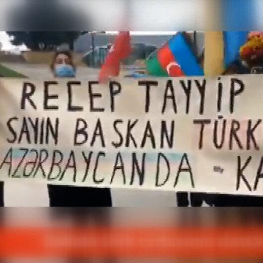 Azerbaycan halkından Rus Barış Gücü karşıtı protesto: Rusya git, Türkiye kal!