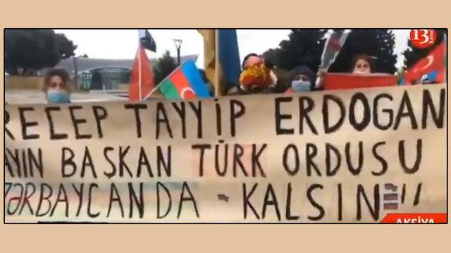 Azerbaycan'da Dağlık Karabağ'daki Rus Barış Gücü'ne protesto: Rusya git, Türkiye kal
