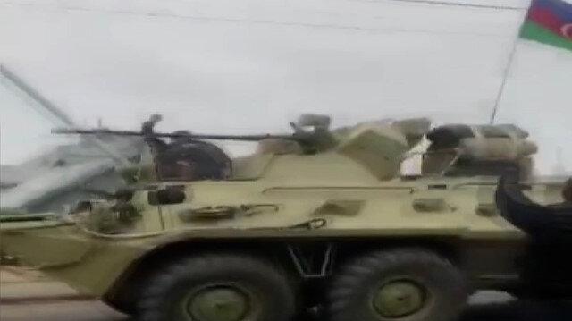 Ağdam'a gelen Azerbaycan ordusu tezahüratlarla karşılandı
