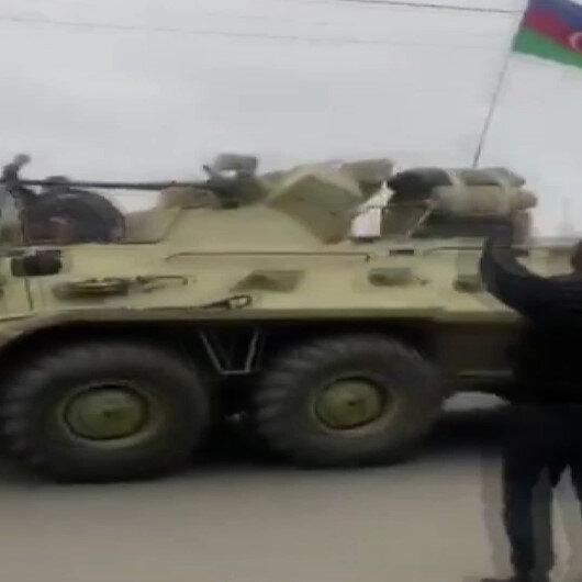 Ağdama gelen Azerbaycan ordusu tezahüratlarla karşılandı