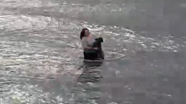 Denize atlayan veteriner hekim boğulma tehlikesi yaşayan köpeği kurtardı
