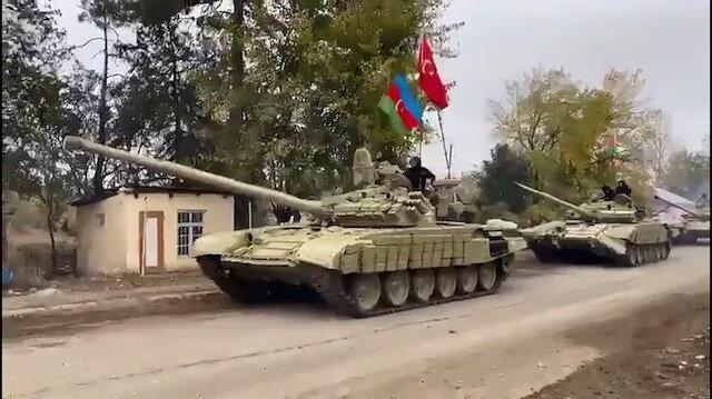 Azerbaycan ordusu Ağdam'a Azerbaycan ve Türk bayraklarıyla giriş yaptı