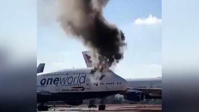 İspanya'da yolcu uçağının kabininde çıkan yangın paniğe neden oldu
