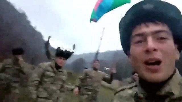 Kelbecer'e Azerbaycan bayrağını çeken askerler: Selam olsun Oğuz eline