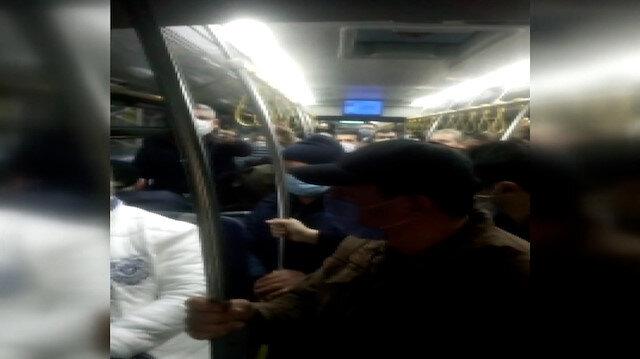 İETT balık istifi yolcu taşıdı: Yolcular görüntü alan kişiye tepki gösterdi