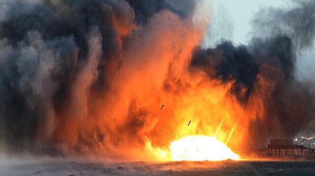 Irak'ta füze saldırısı düzenlenen petrol rafinerisinde yangın çıktı