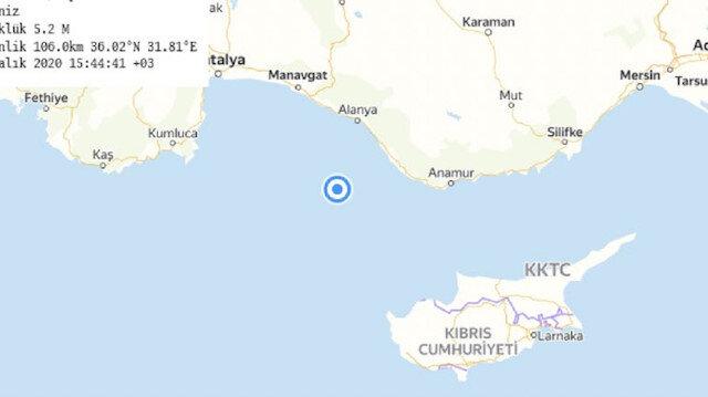 Son depremler: Akdeniz açıklarında meydana gelen deprem Antalya, Mersin, Konya ve Denizli'de de hissedildi