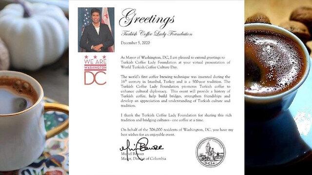 ABD'nin başkenti Washington'da 5 Aralık 'Türk Kahvesi Günü' ilan edildi