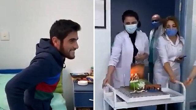 Karabağ gazisine hastane çalışanlarından doğum günü sürprizi