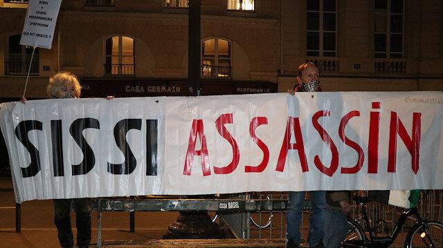 Paris'te Sisi'nin kırmızı halılarla karşılanması protesto edildi