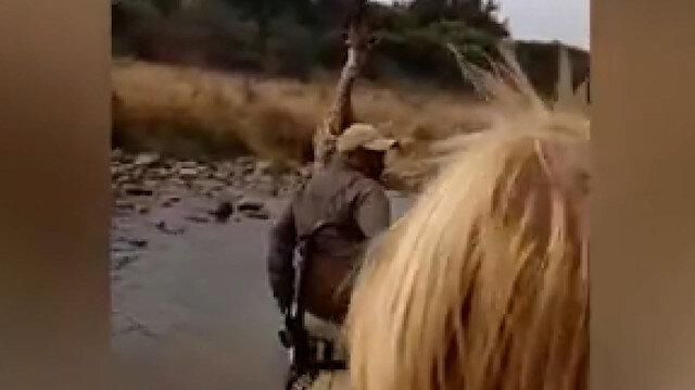 Kızgın zürafa kovaladı, turistler kaçtı: İzleyenleri güldüren ilginç görüntü kamerada