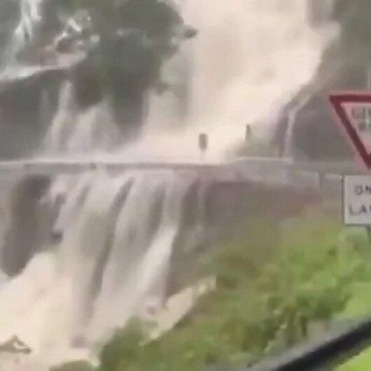 Avustralyada sağanak yağışlar nedeniyle şelale otoyola aktı