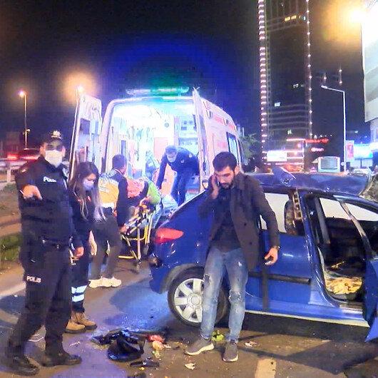 Şişlide zincirleme kaza: Makas atarak ilerleyen araç takla attı