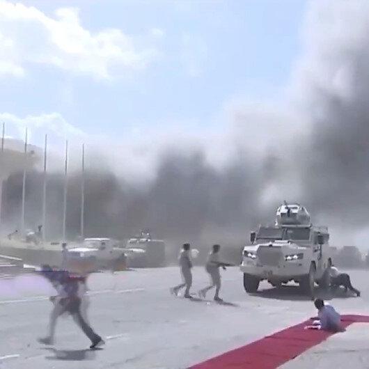 Yemende bakanları taşıyan uçak aprona geldiği sırada patlama oldu