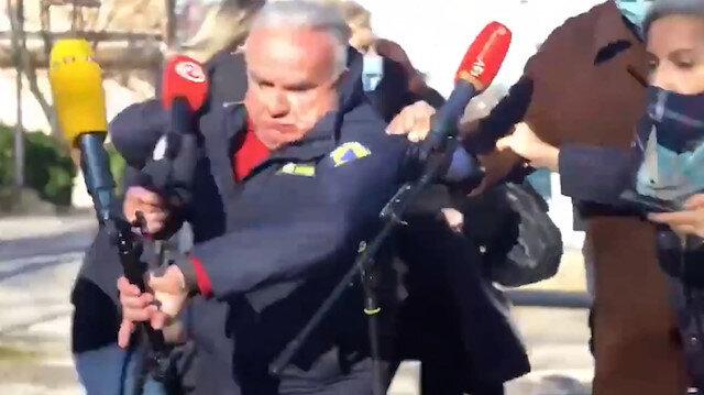 Canlı yayında panik anları: Belediye Başkanı Dumboviç artçı depreme yakalandı