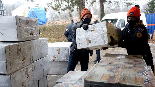 AFAD'ın gönderdiği yardım malzemeleri depremin vurduğu Hırvatistan'a ulaştı