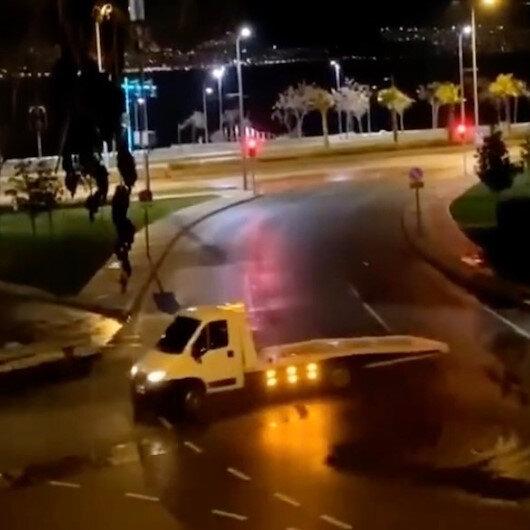 İzmirde yılbaşı gecesi çekiciyle drift yapan sürücüye 6 bin 700 lira ceza