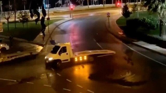 İzmir'de yılbaşı gecesi çekiciyle drift yapan sürücüye 6 bin 700 lira ceza