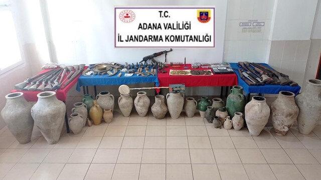 Adana'da tarihi eser operasyonundan cephanelik çıktı