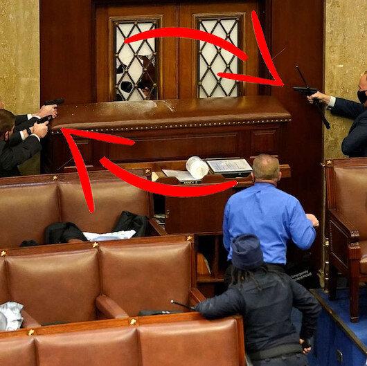 ABDli polisler senatörleri korumak için silahlarını çekti